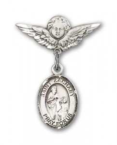Pin Badge with St. Zachary Charm and Angel with Smaller Wings Badge Pin [BLBP1075]