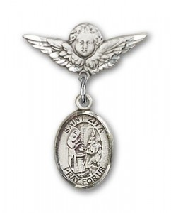 Pin Badge with St. Zita Charm and Angel with Smaller Wings Badge Pin [BLBP1586]