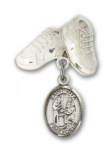 Pin Badge with St. Zita Charm and Baby Boots Pin [BLBP1588]