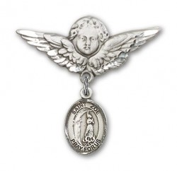 Pin Badge with St. Zoe of Rome Charm and Angel with Larger Wings Badge Pin [BLBP2066]