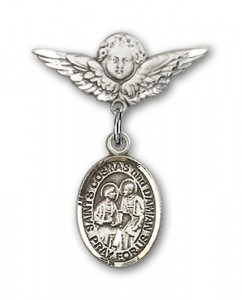 Pin Badge with Sts. Cosmas & Damian Charm and Angel with Smaller Wings Badge Pin [BLBP1173]