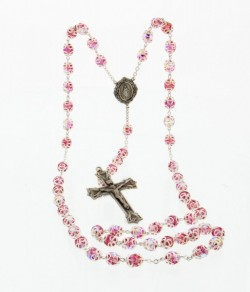 Pink 8mm Double Capped Crystal Rosary in Sterling Silver [HMRB004]