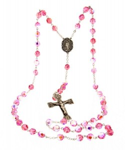 Pink 8mm Pink Crystal Rosary in Sterling Silver [HMRB0017]