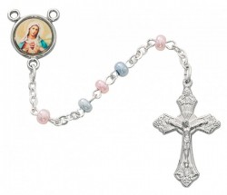 Pink And Blue Rosary, 3mm [RBMV009]