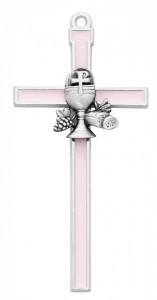 Pink First Communion Wall Cross 5 inch [MVC7542]