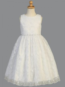 Plus Size First Communion Dress, Rhinestone Trim [LCDPL993]