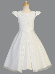 Plus Size First Communion Dress, Split Lace Front [LCDPL975]