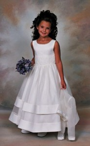 Plus Size First Communion Dress in Peau Satin and Organza with Jacket  [SCPL106]