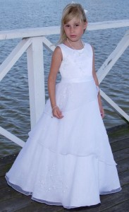 Plus Size First Communion Dress with Asymmetrical Organza Skirt  [SCDPL254]