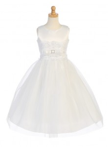 Plus Size First Communion Dress with Bow Accent, Size 12X [LCDPL140]