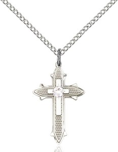 Polished and Textured Cross Pendant with Birthstone Options [BLST6058]