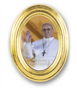 Pope Francis Oval Gold Leaf Frame [HR557574]