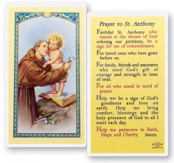 Prayer To St. Anthony Holy Card Laminated Prayer Cards 25 Pack [HPR307]