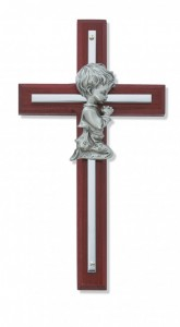 "Praying Boy Cherry Wood Wall Cross - 6""H [RBS2011]"