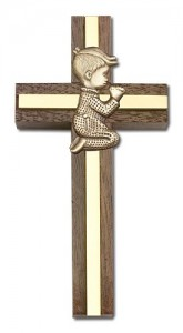"Praying Boy Cross in Walnut 4"" with Metal Inlay [CRB0018]"