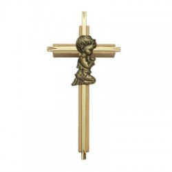 "Praying Boy Oak & Brass Baby Cross - 7""H   [SNCR1047]"