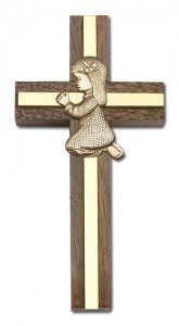 "Praying Girl Cross in Walnut 4"" with Metal Inlay [CRB0019]"