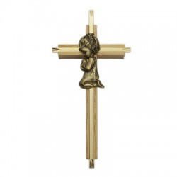 "Praying Girl Oak & Brass Baby Cross - 7""H   [SNCR1048]"