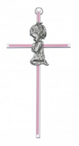 "Praying Girl Pink Baby Cross - 6""H [RBS2020]"
