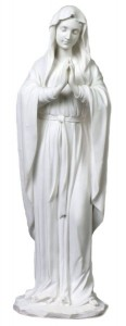 Praying Madonna Statue in White Resin - 11.75 inches [GSCH020]