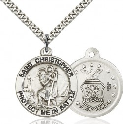 Protect Me In Battle Round St. Christopher Air Force Necklace [BM1007]