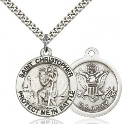 Protect Me In Battle Round St. Christopher Army Necklace [BM1008]
