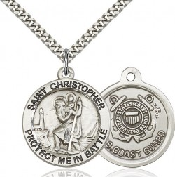 Protect Me In Battle Round St. Christopher Coast Guard Necklace [BM1009]