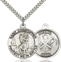 Protect Me In Battle Round St. Christopher National Guard Necklace [BM1011]