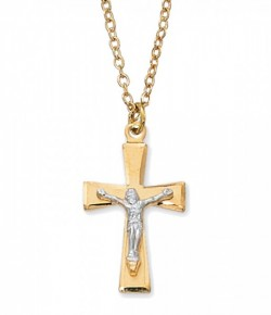 Women's Flared Tip Crucifix Necklace Two Tone [CM2017]
