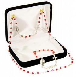 Red Beaded Miraculous Rosary Necklace and Bracelet Set [BR0063]