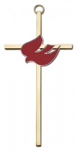 "Red Enamel Holy Spirit Wall Cross 6"" [CRB0038]"