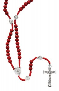 Red Wood Corded Holy Spirit Rosary [MV1069]