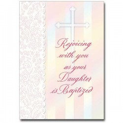 Baptism greeting cards catholic faith store view all rejoice with you as your daughter is baptized greeting card prh001 m4hsunfo