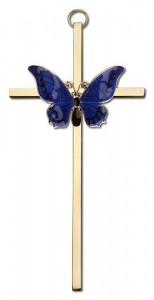"Resurrection Butterfly Wall Cross in Blue 6"" [CRB0046]"