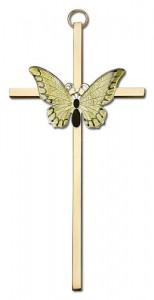 "Resurrection Butterfly Wall Cross in Yellow 6"" [CRB0045]"