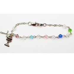 Rhodium First Communion Bracelet with Tin Cut Crystals [MVC055]