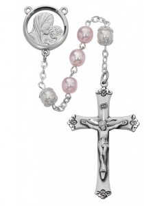 Rhodium Plated Pink and White Rosary [MVRB1048]