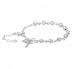 Rosary Bracelet - Sterling Silver with 6mm Sterling Beads [RB3452]
