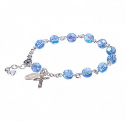 Rosary Bracelet - Sterling Silver with 7mm Light Sapphire Swarovski Beads [RB3469]