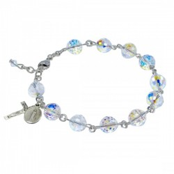 Rosary Bracelet - Sterling Silver with 8mm Fireball Crystal Swarovski Beads [RB3462]