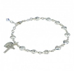 Rosary Bracelet - Sterling Silver with Sterling Sacred Hearts [RB3458]