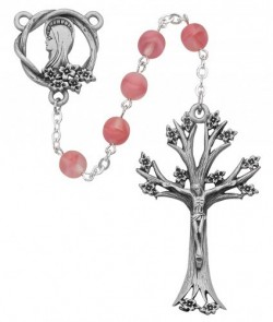 Rose Glass Dogwood Rosary [RB3225]