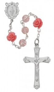 Roses and Pink Glass Rosary [MVRB1211]