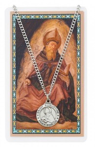 Round St. Augustine Pewter Medal with Prayer Card [PCMV012]