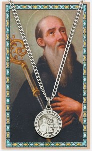 Round St. Benedict Medal with Prayer Card [PC0093]