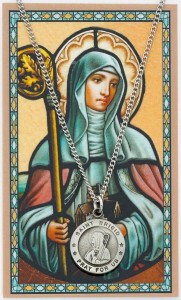 Round St. Brigid of Ireland Medal with Prayer Card [PC0036]