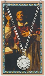 Round St. Charles Borromeo Medal with Prayer Card [PC0041]