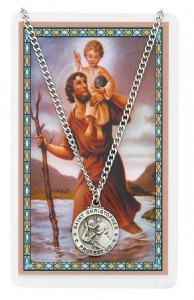 Round St. Christopher Medal with Prayer Card [PC0039]