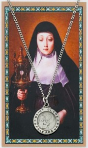 Round St. Clare Medal with Laminated Prayer Card [PC0040]