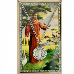 Round St. Francis of Assisi Medal with Prayer Card [PC0113]